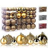 KATELUO 100 Piezas Bolas árbol de Navidad, Bolas de Navidad Decoración, Bolas de árbol de Navidad Adorno, Bolas de árbol de Navidad Adorno de Pared, Ø 3, 4 & 6cm (Dorado)