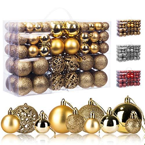 KATELUO 100 Pezzi Palline di Natale, Plastica Palle e Palline per LAlbero, Christmas Ball Tree Ornaments per Decorazioni per Albero di Natale, Ø 3, 4 & 6cm (Oro)