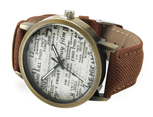 axy Vintage Lederarmbanduhr SERIE 6 VINAU6! Damen Leather Bracelet Uhr Armreif (Braun)
