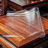 HHUU Mantel de PVC transparente, cojín de mesa de 1,5 mm de grosor, protector de mesa rectangular, impermeable, antideslizante, 50 x 50 cm