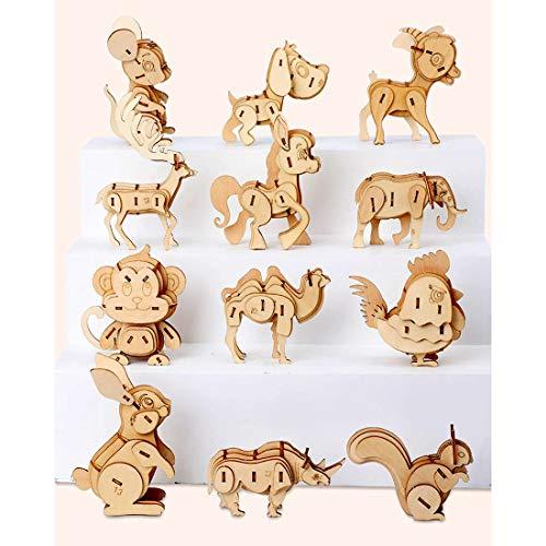 HYZM Holzbausatz Tiere für Kinder, 12Pcs DIY 3D Holzpuzzle Tier Holzspielzeug Mechanische Modellbau Kits Denkspiele Spielzeug Geschenk für Kinder Erwachsene
