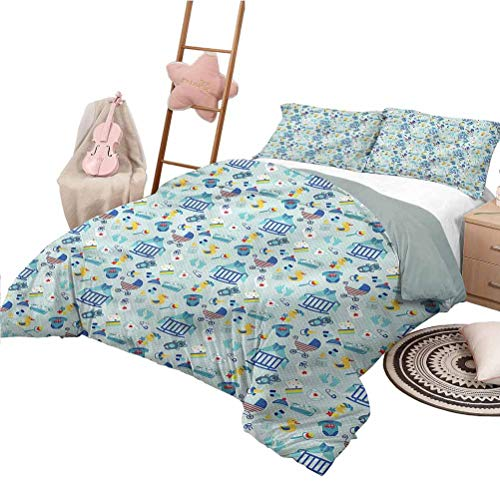 Nomorer 3 Piece Quilt Set Full Size Baby Bedding Bag Crestcent Moon with Stars