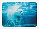 "Ambesonne Bear Bath Mat, Arctic Polar Bear Dipping into Water Swimming Ursus Maritimus Underwater View, Plush Bathroom Decor Mat with Non Slip Backing, 29.5"" X 17.5"", Pale Blue"