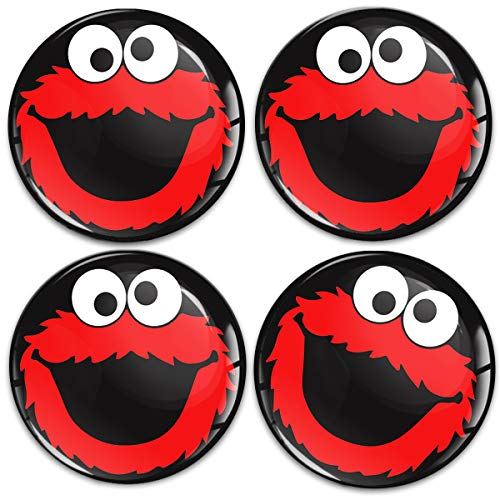 Biomar Labs 4 x 60mm Universal Adhesivo Pegatinas para Tapas de Rueda de Centro Tapacubos para Coche Negro Rojo Elmo Cookie Monster A 5960