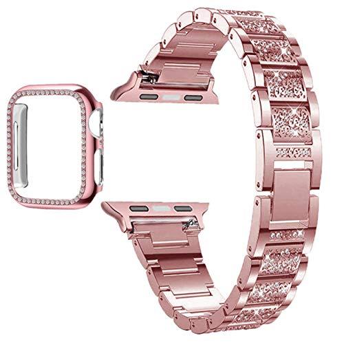 Correa de reloj para Apple Watch Band Series 6 5 4 3 2 1 Correa de diamantes para mujer para iWatch 6 44MM 40MM 42MM 38MM Pulsera de acero inoxidable