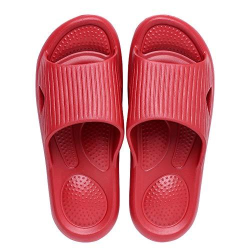 Nwarmsouth Unisex Adulto Bañarse Sandalias,Sandalias de Masaje cómodas, Zapatillas Antideslizantes Simples-Red_37-38,Zapatillas de Ducha para el hogar