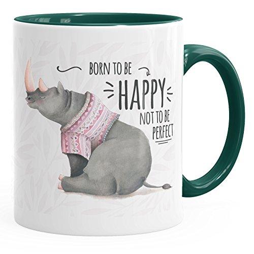 MoonWorks Kaffee-Tasse Spruch Nashorn Born to be Happy not to be Perfect Quote glücklich fröhlich positives Denken grün Unisize