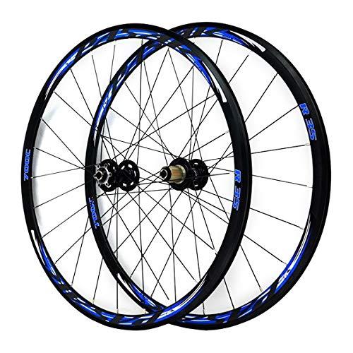 ZFF 700C Rennrad Laufrad Set Vorderrad Hinterrad Rad Cyclocross Road Scheibenbremse Rad V/C-Bremse Doppelwandig Schnellspanner 7 8 9 10 11 Fach (Color : Blue)