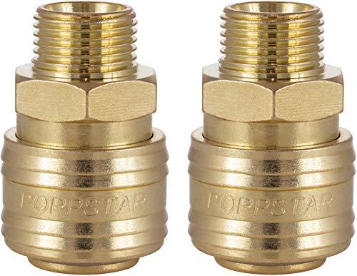 Poppstar Conectores rapidos aire comprimido, diámetro nominal 7,2 mm con rosca exterior (macho) de 3/8 pulgada para conexión de aire comprimido, 2pzas