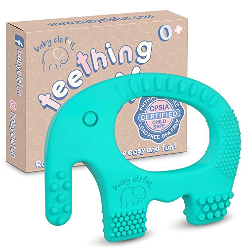 Baby Teething Toys - BPA Free Silicone Toy - Cute, Easy to Hold, Soft and Highly Effective Elephant Teether - Unique Teethers Best for 0-6 6-12 Months Boy or Girl Christmas Gifts Stocking Stuffers