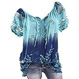 Damen Oberteile V-Ausschnitt Bluse Übergröße T-Shirt Kurzarm große größen Casual Tunika Bandage Spitze Tops Bikinioberteile Party Sommer Strand (5XL, Blau)