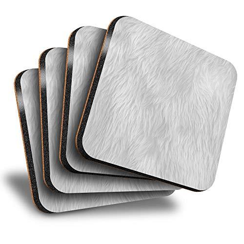 Destination Vinyl ltd Great Posavasos (juego de 4) cuadrados – BW – Alfombra de pelo esponjoso efecto tela bebida brillante posavasos / protección de mesa para cualquier tipo de mesa #42094