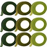 9 Rollos Cinta de Florista, Herramienta Florales, Kit de Arreglos Florales, 27m Verde Cinta Floral Verde Tape para Ramo, Envoltura Flores, Fabricación de Manualidades, Corona de Boda (3 Colores)