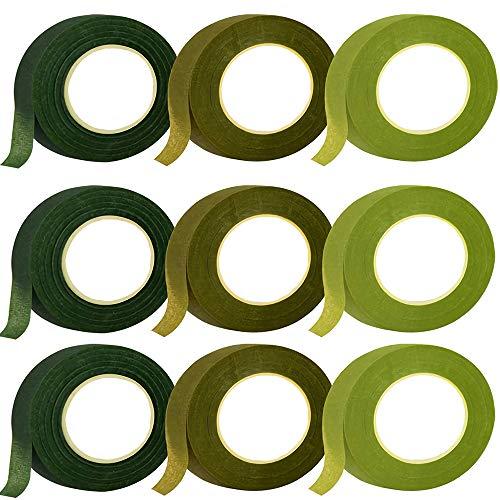 LWZko 9 Rotoli Nastro per Fiorista, Kit Strumento Floreale, Nastri Floreali a Stelo, 27m Verde Nastro Fiorista per Bouquet, Confezioni di Fiori, Artigianato, Ghirlande Nuziali (3 Colori)