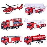 GODNECE Jouet Camion de Pompiers Jouet Véhicule Militaire 6 en 1 Tirer en Arrière Véhicules en Alliage Voiture Camion Jouet