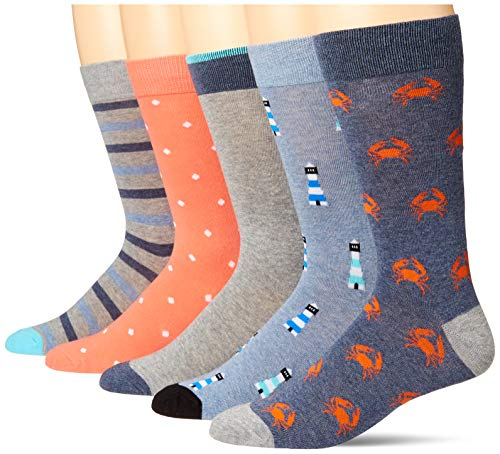 Amazon Essentials 5-Pack Patterned Dress Socks Calcetines de Vestir, Azul/Naranja, Novedad, 41-46, Pack de 5
