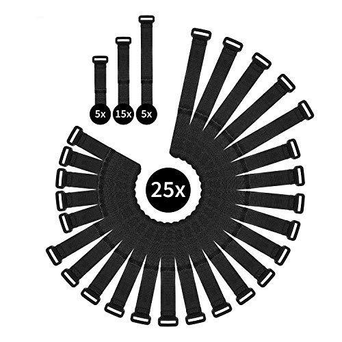 WINTEX 25 Kabelbinder wiederverschließbar in 3 Längen – Klettbänder mit starkem Klettverschluss – universell einsetzbares Kableband – Klett-Kablebinder in Schwarz