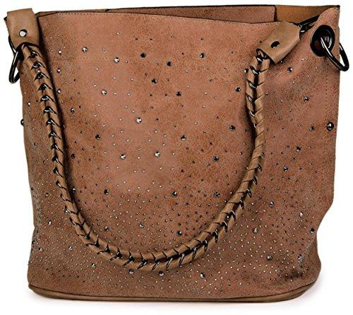 styleBREAKER Handtaschen Set mit Strassapplikation im Sternenhimmel Design, 2 Taschen 02012013, Farbe:Braun