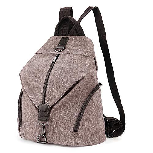 JOSEKO Frauen Leinwand Rucksack, Canvas Tasche Rucksäcke Damen Umhängentasche Große Kapazität Reisetasche Vintage Schultasche für Reise Outdoor Schule(Kaffee)