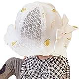 ベビーハット キッズ 帽子 ベビー帽子 赤ちゃん キャップ 日よけ つば広ハット 折りたたみ UVカット 帽子 リバーシブルハット 超軽量 通気性強く お出かけ用 (48-52CM, ホワイト)