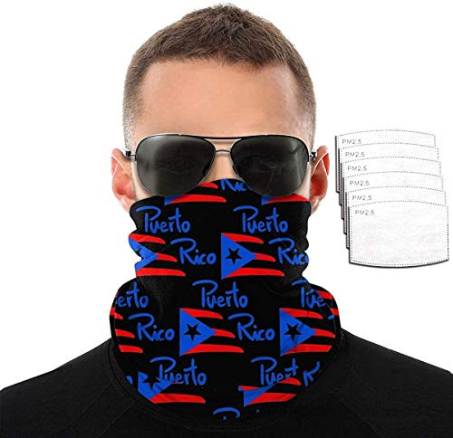 Unisex Breathable Cooling Face Covers Mask Neck Gaiter Bandana for Men(Sewing)-American Puerto Rico Flag Black-One Size