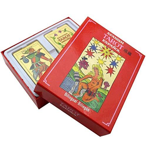 LHJY 78pcs Spanash Tarot Cards English Spanish Version Juegos De Mesa Tarot Card Deck Divertidos Juegos De Cartas De Mesa para Fiestas Familiares (2 Cajas)