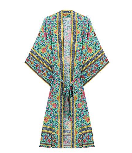 R.Vivimos Women's Vintage Floral Print Beach Boho Cardigan Kimono Maxi Swimwear Cover Up Dress Wrap Large Green