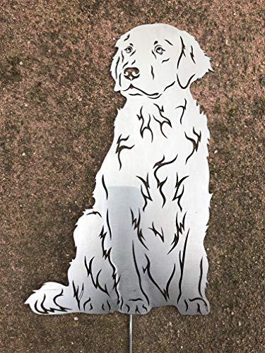 Terma Stahldesign Golden Retriever sitzend höhe 30 cm, Edelrost Hund, Gartenfigur, Rostfigur, Rost Figur