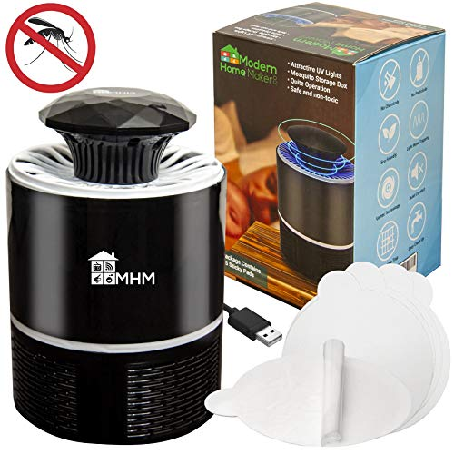 Mosquito Trap Mosquito Killer Lamp - Insect Killer That Works Best for Mosquito, Fruit Fly, Gnat, Moth, Bug - Built in 360 Fan UV LED Light, USB Powered - Child Safe, Non-Toxic, Odorless (Black)