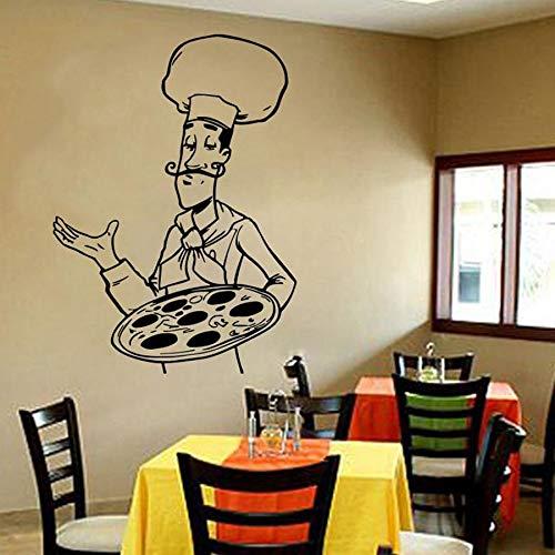 HGFDHG Pizza Parete Decalcomania Finestra Vinile Adesivo Cibo Italiano Pizza Cibo Italiano Ristorante Cucina Arredamento Interno Chef Arte murale