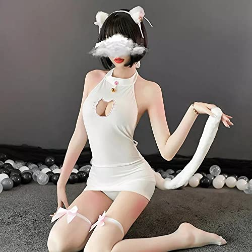 YINSHENG Blanco Negro Sexy Gato Ropa Interior Mujer Disfraz Lindo Disfraz Adulto Cosplay Gato Travieso Ropa cachonda Conjunto de lencería lencería Sexy