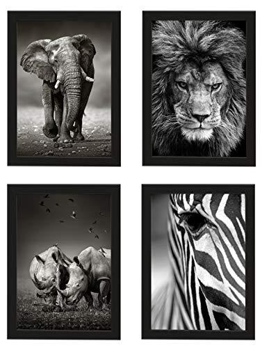 PICSonPAPER Poster 4er-Set Wildlife, Dekoration fürs Wohnzimmer oder Büro, Dekoposter, Kunsstdruck, Wandbild, Elefant, Löwe, Nashorn, Zebra, monochrom, Geschenk (Schwarz gerahmt DIN A4)
