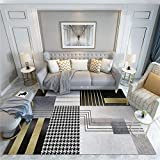 alfombras grandes baratas Alfombra negra con diseño de patrón abstracto, tapete de arrastre insonorizado, tapete de yoga, alfombra de fácil aspiración alfombra de juego bebe -negro_Los 200x250cm