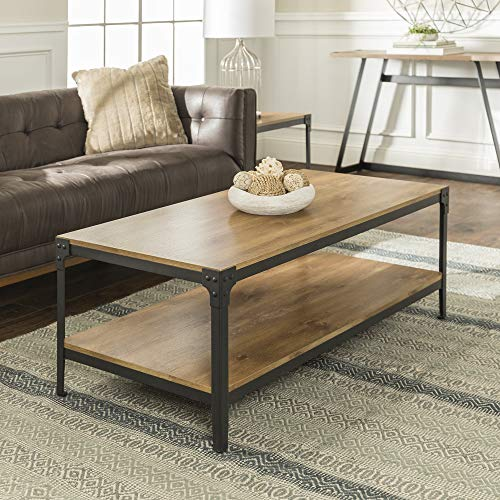 Walker Edison Declan Urban Industrial Angle Iron and Wood Coffee Table 46 Inch Barnwood Brown