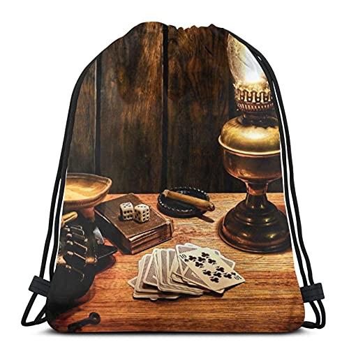 Rucksack für Damen und Herren, mit Kordelzug, leicht, Sport, Fitnessstudio, große Tasche, wasserdicht, für Yoga, Einkaufen, Hotelzimmer, mit Laterne, Nachttisch und Pokerkarte, Einheitsgröße