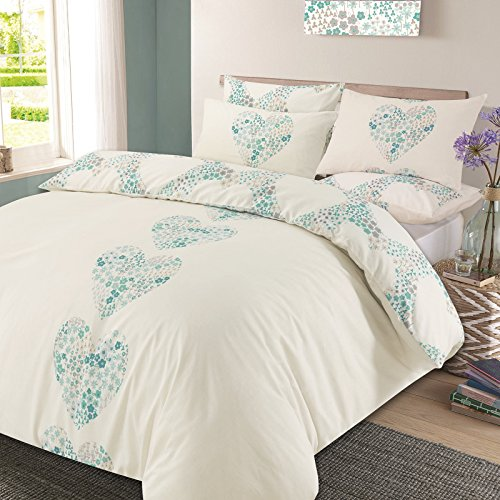 Dreamscene Duvet Cover with Pillow Case Reversible Lizzie Hearts Bedding Set Duck Egg Blue - Double