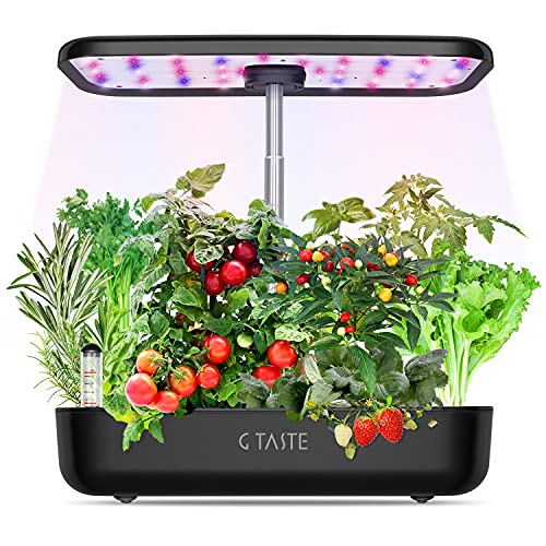 Hydroponics Growing System, G TASTE 12 Pods Indoor Herb Garden Starter Kit with LED Grow Light, Smart Germination Kit Garden Planter for Family Home Kitchen with Cycle Timing Function