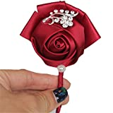 S-SSOY Boutonniere Bridegroom Groom Men's Boutonniere Groomsmen Best Man Boutineer with Pin Brooch Corsage for Wedding Homecoming Prom Suit Decoration Wine Red #10 1 Piece