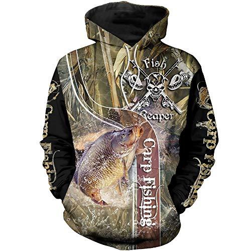 BBYaki Carp Fishing Hoodie Mens 3D Sweatshirts Camo Fish Reaper Autumn Long Sleeves Camouflage Zipper Jacket(XS-7XL),Camo Hoodie,XXL