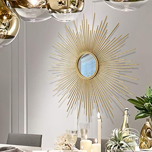 XM-MIRROR Dekorative wandspiegel, Veranda Metall Sonne Form wandspiegel, korridor Wohnzimmer wanddekoration anhänger hängenden Spiegel,Gold,70cm