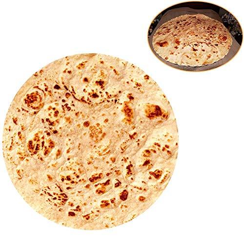 RAINBEAN Burrito tortilla-filt, perfekt rund nyhet mat wrap filt kreativ mat mjöl kasta, bekväm bärbar filt för säng och soffa, flanell taco plyschhandduk för vuxna och barn – 152 cm