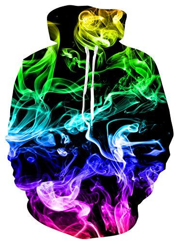 Loveternal Felpa Uomo Fumo Colorato Felpe con Cappuccio 3D Pullover Smoke Hoodie Digitale Jumper per Donna Uomo con Tasche con Coulisse M