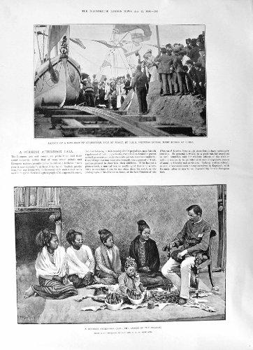 Impresión Antigua del Wight 1891 de Princesa Louise Burmese Ladies Isle de Atherfield del Lanzamiento del Equipo del Bote salvavidas