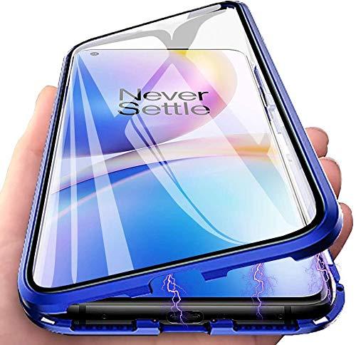 Magnetische Hülle Huawei Mate 20 lite Magnetische Handyhülle[Magnetic Absorption Technology] [Metallrahmen Bumper] [360°Transparente Hartglas] Magnetische Hülle für Huawei Mate 20 lite Case - Blau