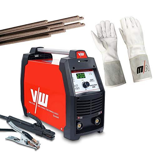 Vector Welding - Equipo de soldadura de electrodos de 200 Amp - Soldador de electrodos con manoplas y electrodos de varilla