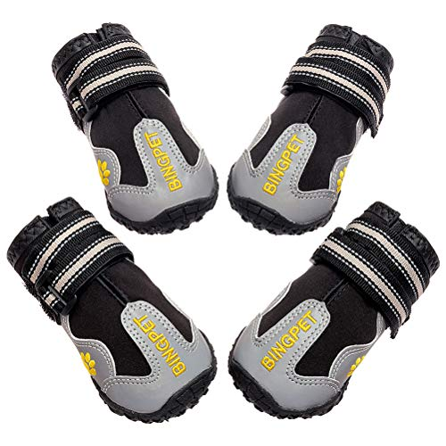 BINGPET Dog Boots Waterproof Reflective Pet Shoes for Medium to Large Dogs Anti-Slip Paw Protectors with Adjustable Straps 4 Pcs