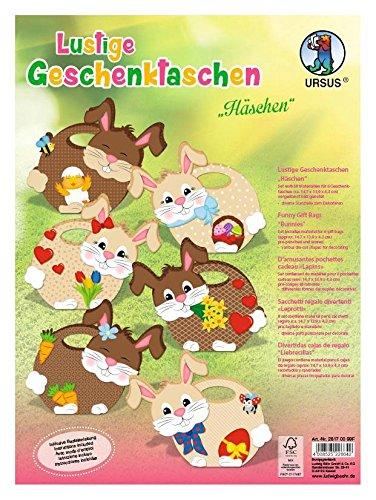 URSUS Stanzbogenset Lustige Geschenktaschen Häschen 6 Stück