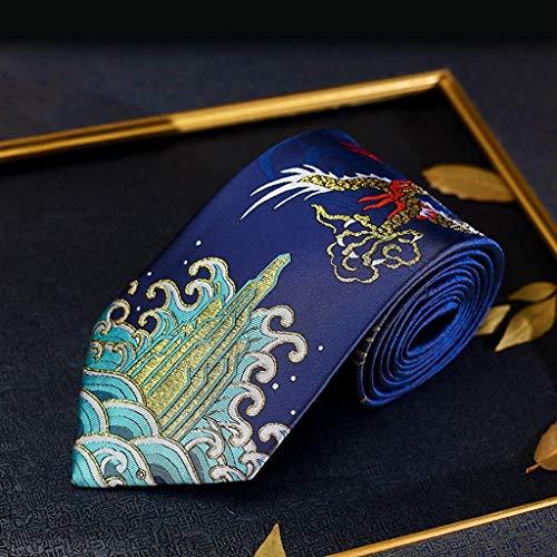 DXIUMZHP Corbatas Corbata Hecha a Mano China única Dragón Ruyi Vintage Brocade de Moda Cultura Nacional Corbatas estudiantiles Regalos para el día del Padre (Color : Blue -A, Size : 142 * 9.5c