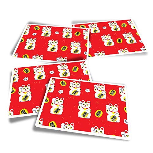 Vinyl Rectangle Stickers (Set of 4) - Waving Lucky Cat Chinese China Japan Fun Decals for Laptops,Tablets,Luggage,Scrap Booking,Fridges #8728