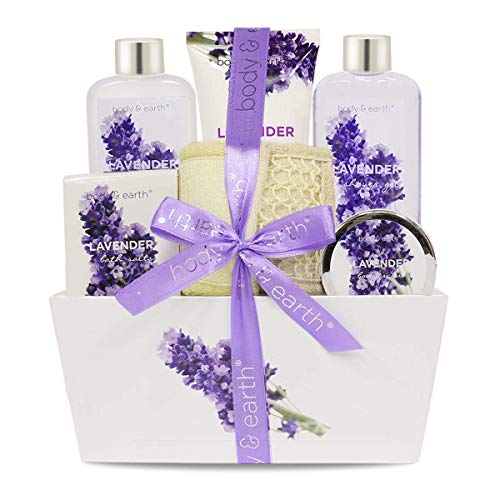 Bath Spa Gift Set, Christmas Gift Basket 6-Piece Lavender Scented Spa Basket Kits for Women, Contains Shower Gel, Bubble Bath, Body Lotion, Bath Salt, Body Scrub, Back Scrubber, Best Gift for Her